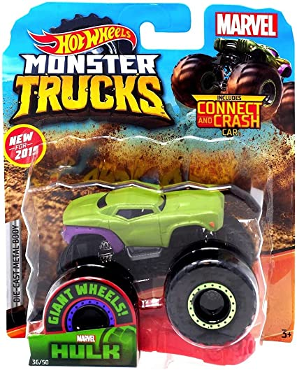 Amazon Com Hot Wheels 2019 Monster Trucks Marvel S Hulk With Connect And Crash Car 36 50 1 64 Scale Die Cast Toys Games