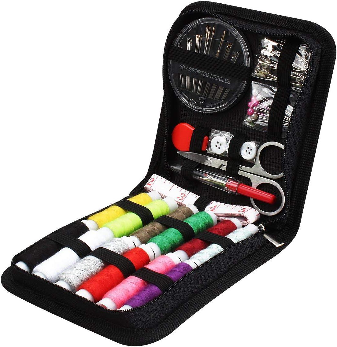 JUNING Kit de Costura,Costurero 90pcs Accesorios Costura Kit de Accesorios para el viajes y principiantes y emergencias (B-Mini)