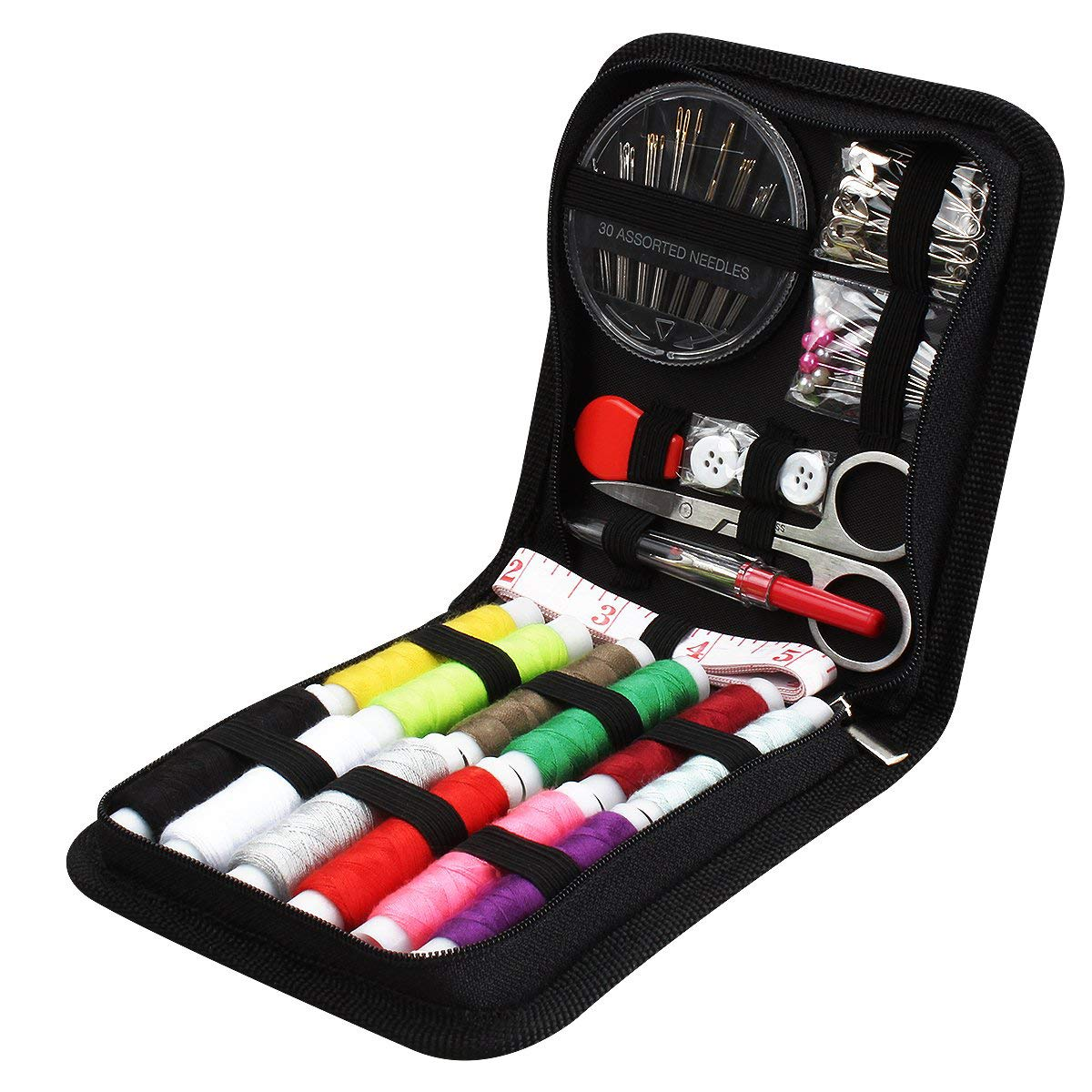 JUNING sewing kit 73s sewing accessories, 12 spools of thread - 50m large format premium sewing kit with carrying bag