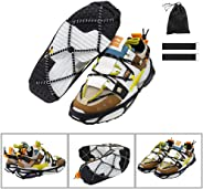 CAKKA Crampons, Portable Walk Traction Ice Cleats - Non Slip, Break Resistant, Easy to Wear - Ice Spikes Gripper for Walking Hiking on Snow and Ice, Fits for Shoes Boots Etc