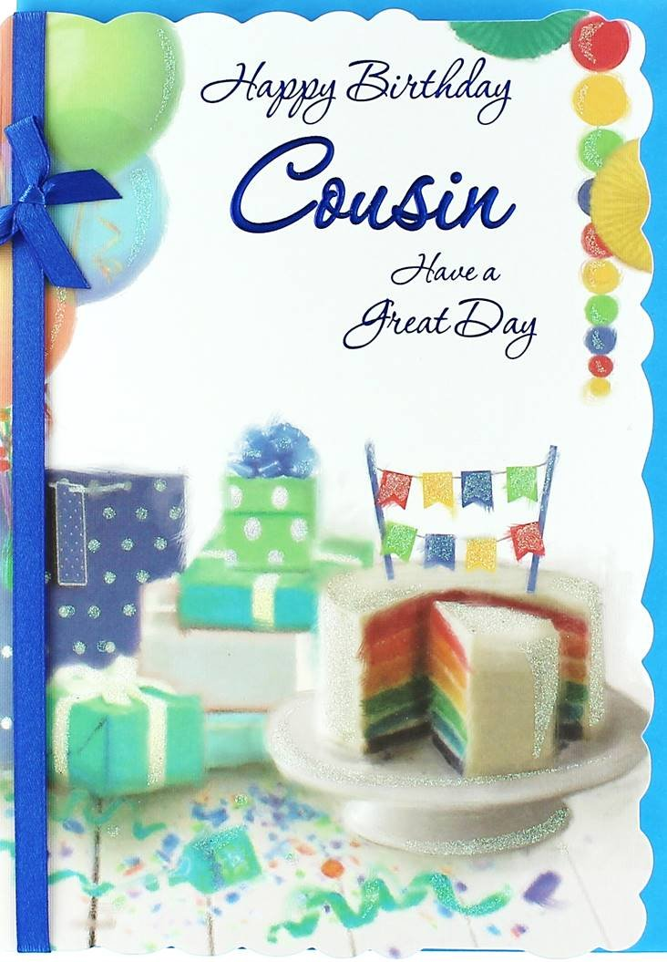 Cousin Birthday Card Rainbow Cake Presents Balloons Bunting