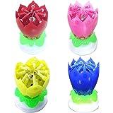 Gosear 4 Colore Incredibile Lotus Candela di Compleanno Felice di Musica