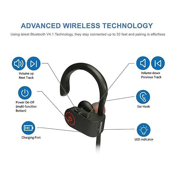 Hussar - Auriculares Bluetooth inalámbricos, deportivos, IPX4, a prueba de sudor, sonido de primera calidad con graves, cancelación de ruido, ...
