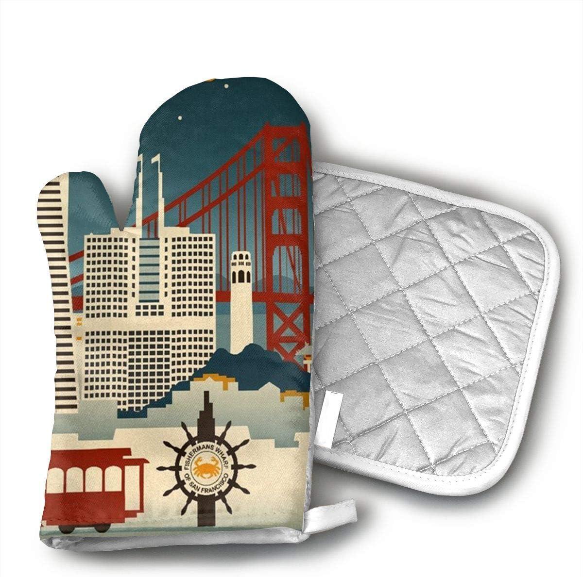 GUYDHL Unisex Oven Mitt and Pot Holder for San Francisco, California - Retro Skyline - 2 Pair