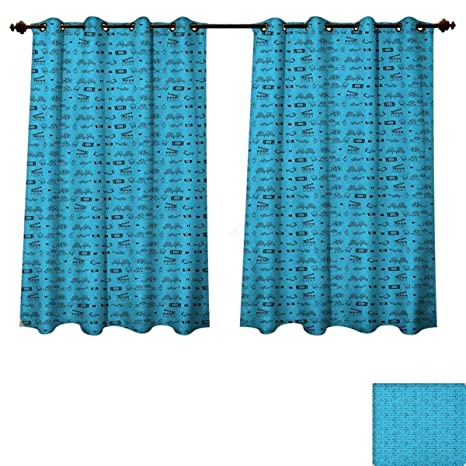 Phenomenal Amazon Com Blue And Black Blackout Thermal Backed Curtains Pabps2019 Chair Design Images Pabps2019Com