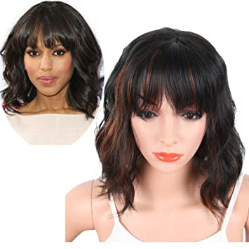 KRSI Women s Short Curly Synthetic Wigs With Air Bangs Natural Black Brown  Wigs for Black 6aa3a167ba68