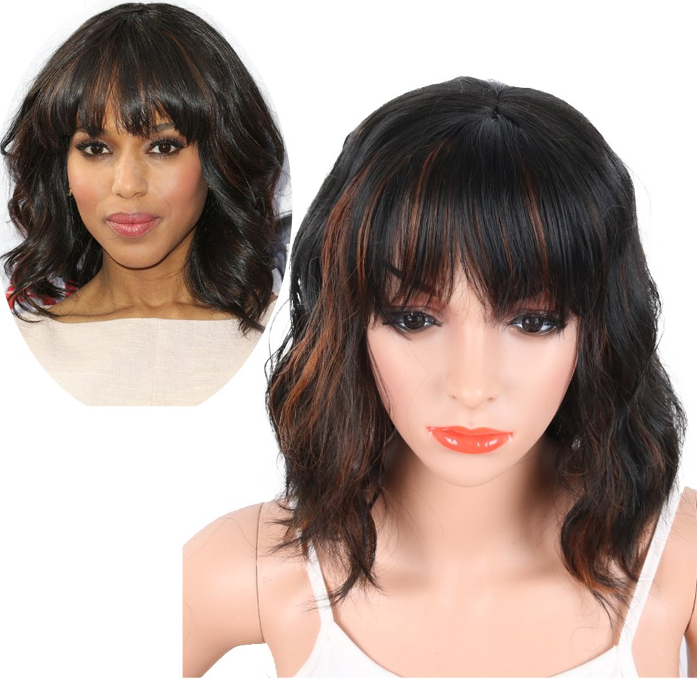 KRSI Women's Short Curly Synthetic Wigs With Air Bangs Natural Black/Brown Wigs for Black Women Heat Resistant Custom Cosplay Party Full Wigs 14inch