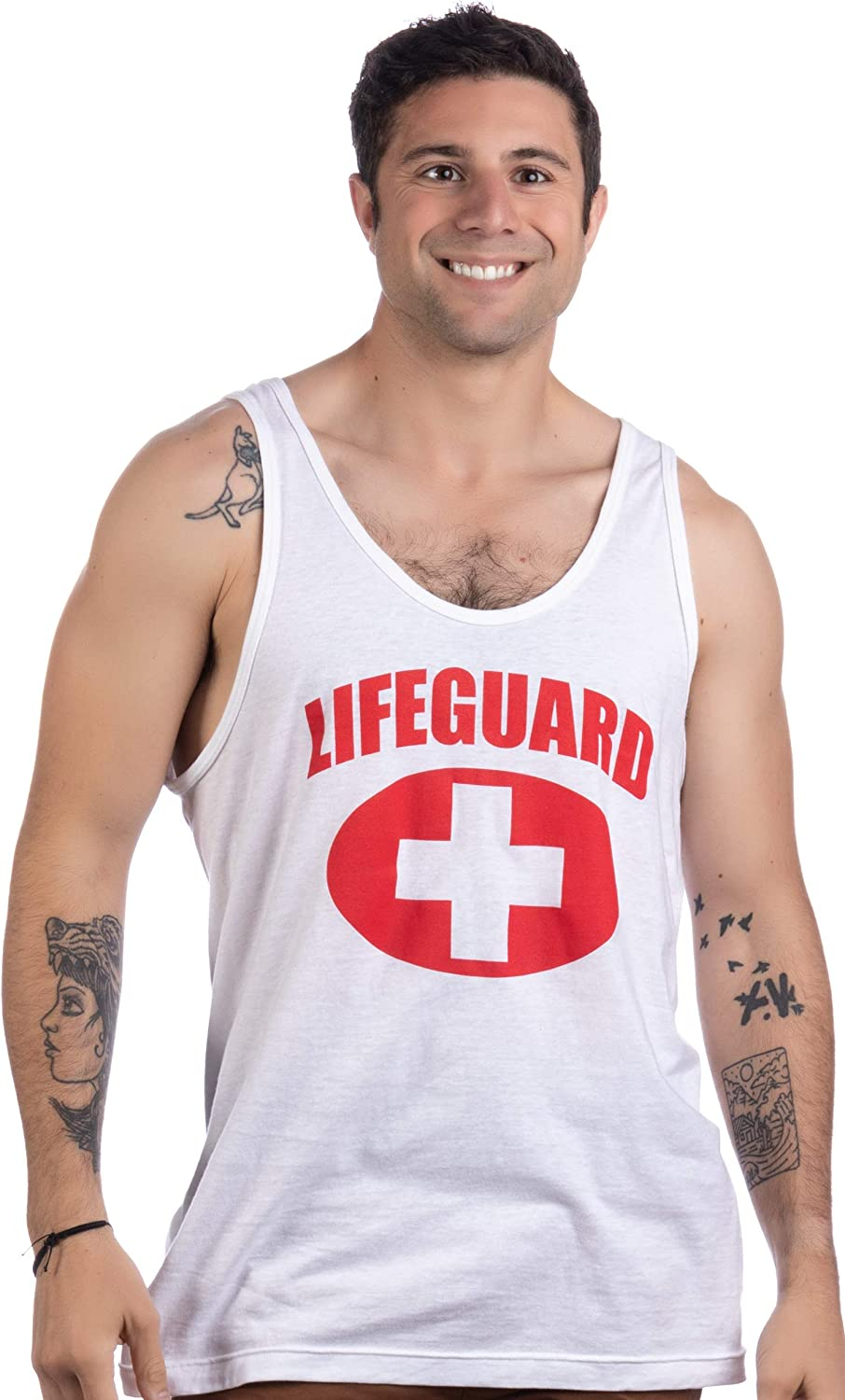 Lifeguard | White Adult Unisex Lifeguarding Fitted Unisex Tank Top: Clothing