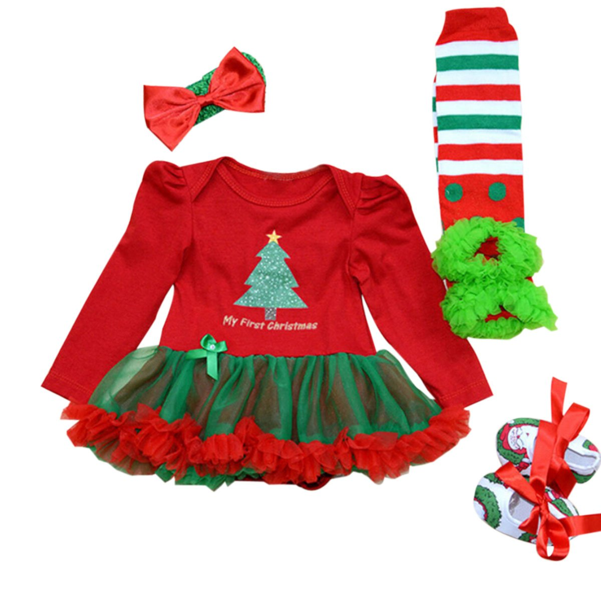Marlegard® Baby Girls' 4PCs My 1st Christmas Tutu Dress Headband Shoes Leggings