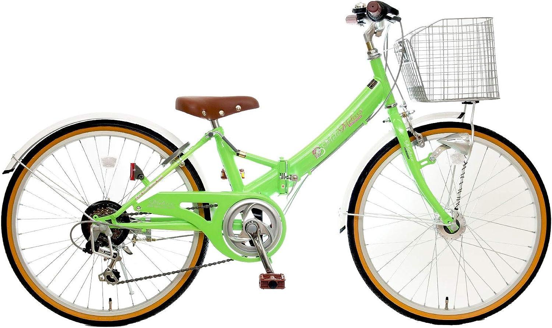 22インチ メリッサS 6段変速 LEDオートライト 組み立て式 折りたたみ自転車 イエローグリーン