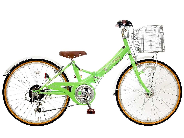 24インチ メリッサS 6段変速 LEDオートライト 組み立て式 折りたたみ自転車  イエローグリーン B07PNKK932