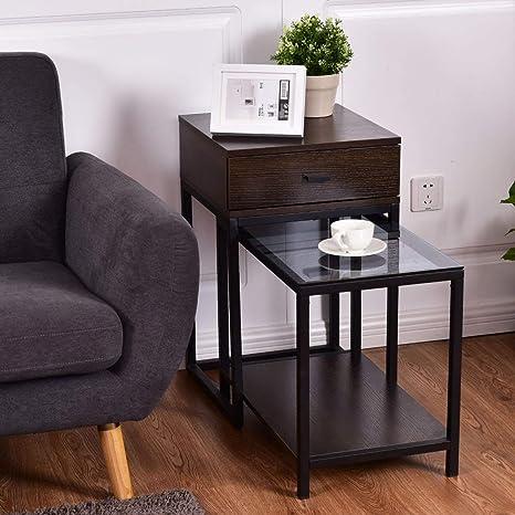 Amazon Com Tangkula Nesting Table Set Of 2 Home Glass Top Metal