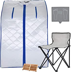 Kenwell Portable Infrared Home Spa, Infrared Portable Sauna, with Heating Foot Pad and Chair, Remote Control, 30 Minutes Timer (Infrared 36.6''H,Silver)