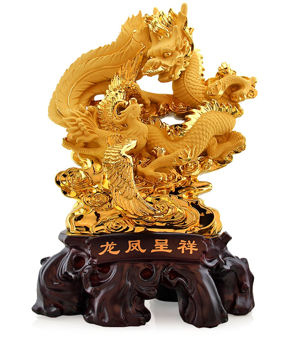 Large Size Feng Shui Golden Phoenix and Dragon Statue , Best Office and Home Decor