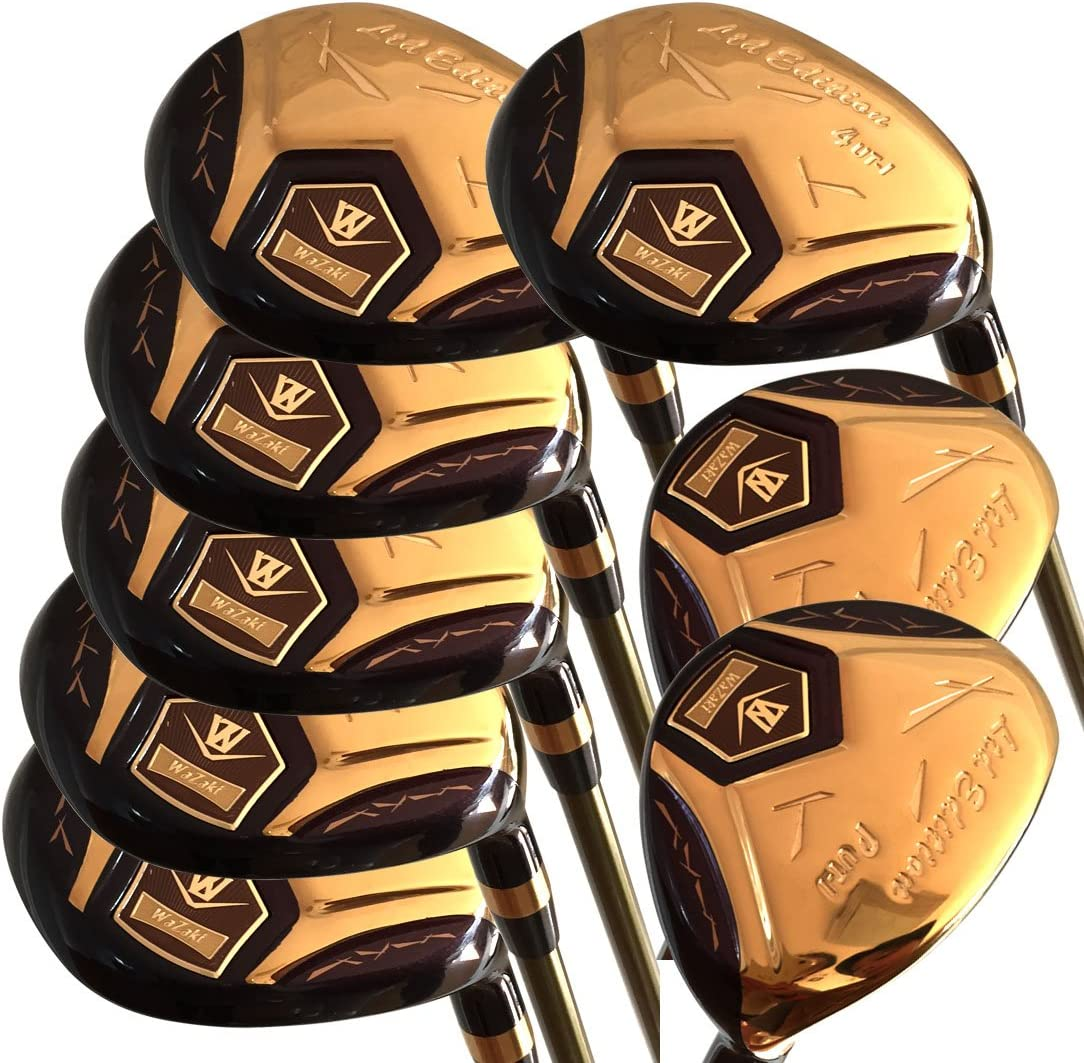 Japan WaZaki 14K Gold Finish Cyclone 4-SW Mx Steel Hybrid Irons Golf Club Sets