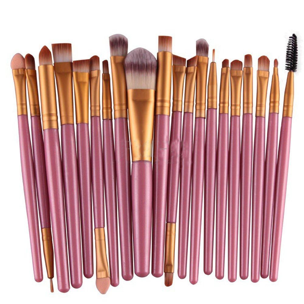 KOLIGHTSet of 20pcs Pro Makeup Set Powder Foundation Eyeshadow Eyeliner Lip Cosmetic Brushes (Pink+Gold)