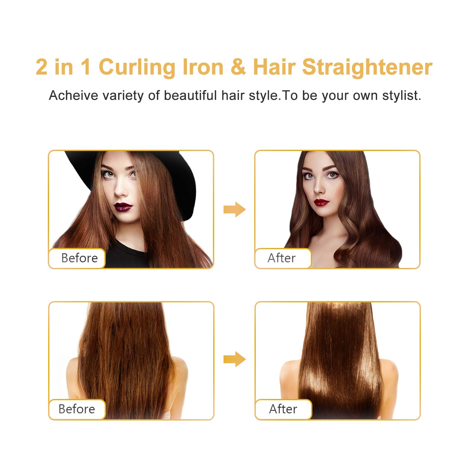 U-Kiss 2-In-1 Hair Straightener Curler, Max 450℉ Fast Heating Straightening Curling Iron with Wide Ceramic Floating Plate