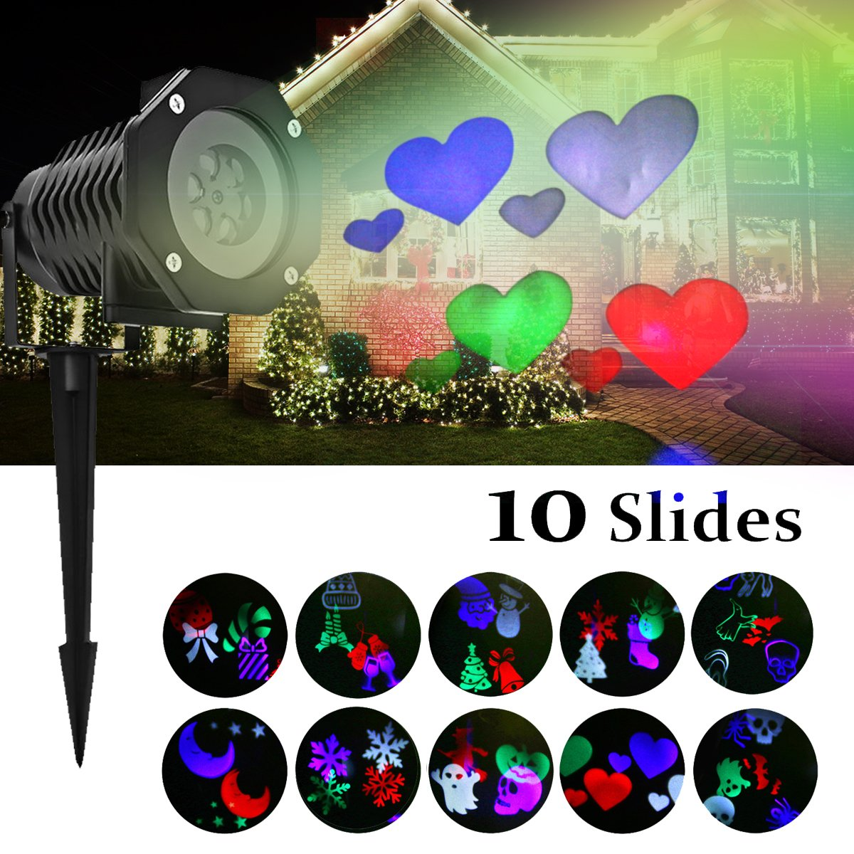 Projection Light Outdoor - High Waterproof Auto Rotating Spotlight with 10 Rotating Multicolor Slides - Lighting Gobo Lawn Lights Garden Path Party for Easter,Holloween,Birthday,Wedding Decor