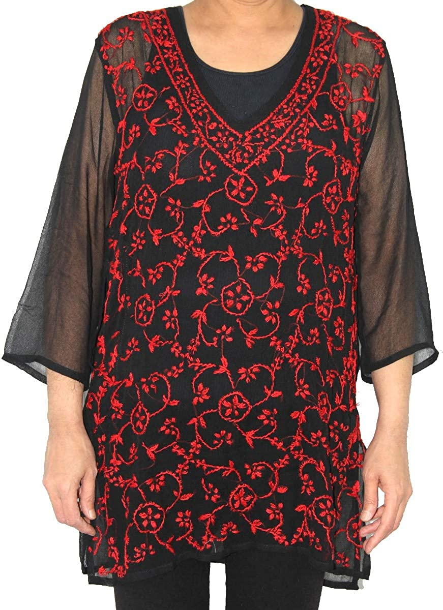 Sheer Black Top Red Ethnic Embroidery
