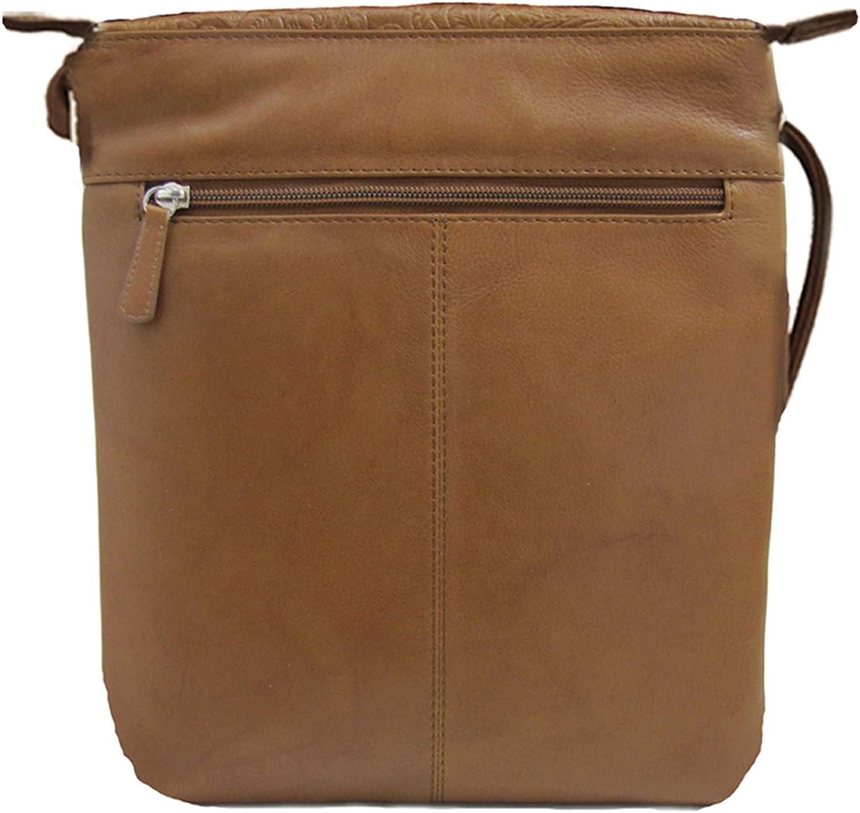 ili Leather 6547 Embossed Mini Sac Crossbody Handbag with RFID Lining