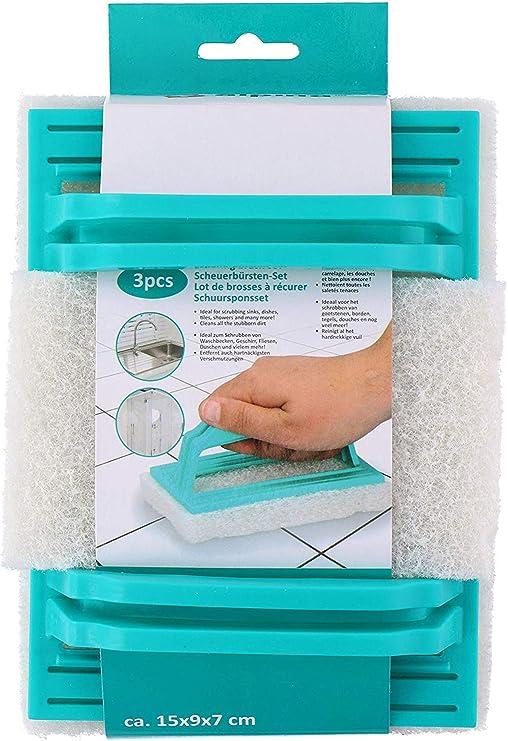 Invero - Estropajos (3 Unidades, con asa, Ideal para Limpiar fregaderos, Platos, mamparas de Cristal de Ducha, Azulejos y más): Amazon.es: Hogar