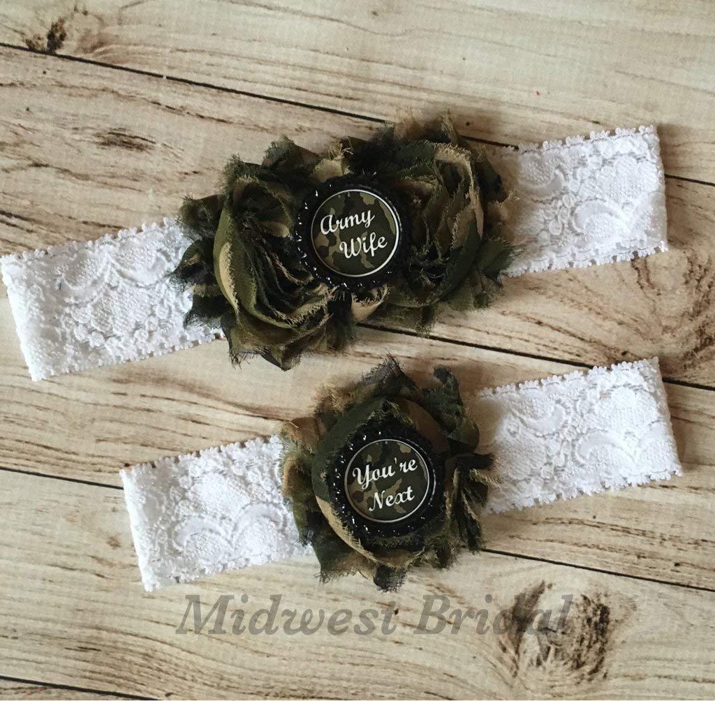 Army Wife Custom White Lace Wedding Garter