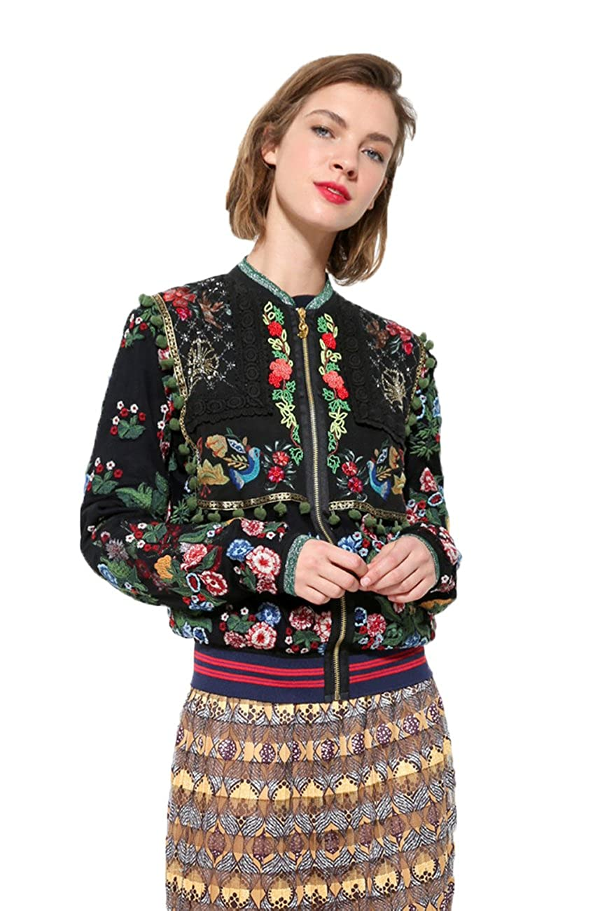 Desigual Womens Floral Embroidery Laura Jacket at Amazon ...