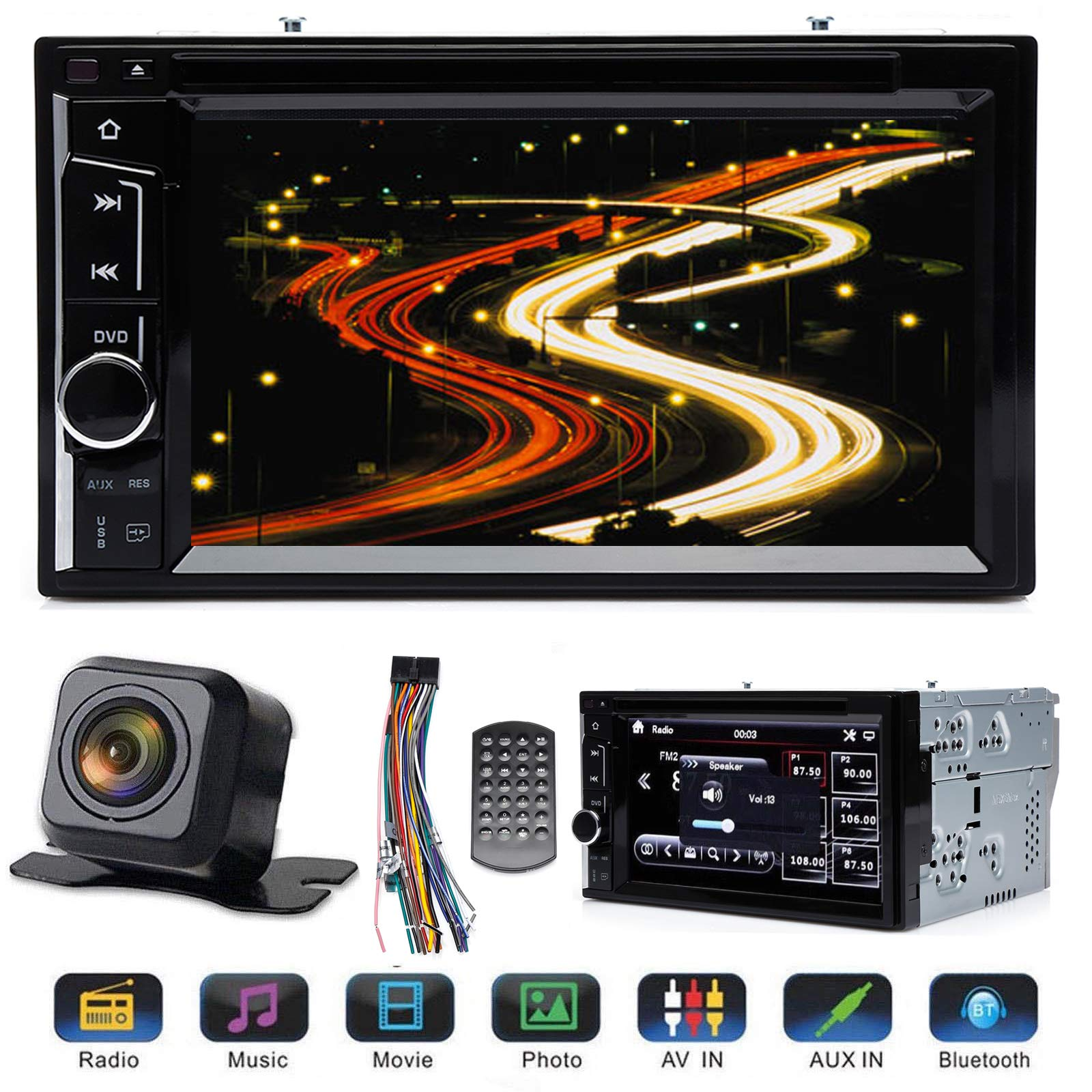 Double Din Car Radio with Reverse Camera for Ford F250 Super Duty 2004-2016, with Mirrorlink Bluetooth Subwoofer Control Steering Wheel Control AM FM DVD Player 6.2'' Touchscreen + Remote Control