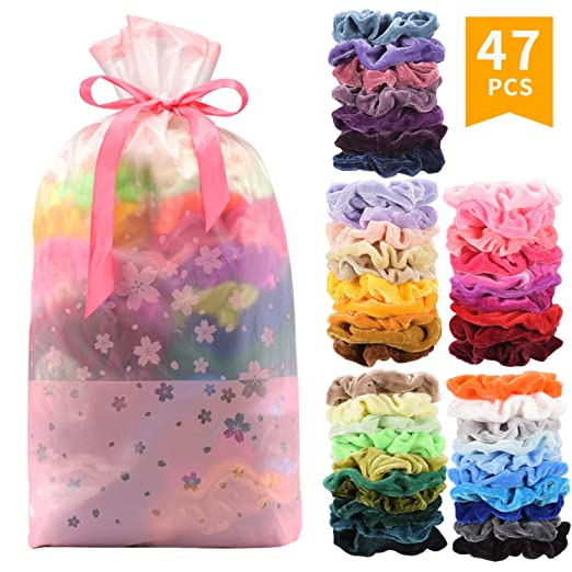 Seven Style 47 Pcs Premium Velvet Hair Scrunchies Hair Bands Scrunchy Hair Ties Ropes Scrunchie... by Seven Style