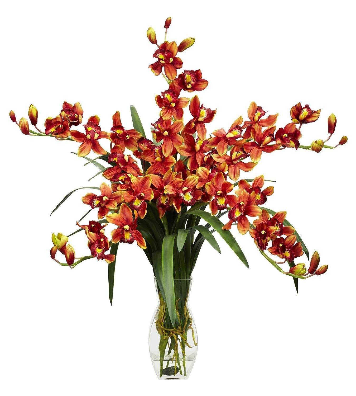 造花 - バーガンディ シンビジウム 蘭の花 アレンジメント シルクフラワー B07KVCV2JW