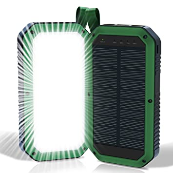 Cargador solar, 8000 mAh 3 Puertos USB y LED luz Solar Power ...