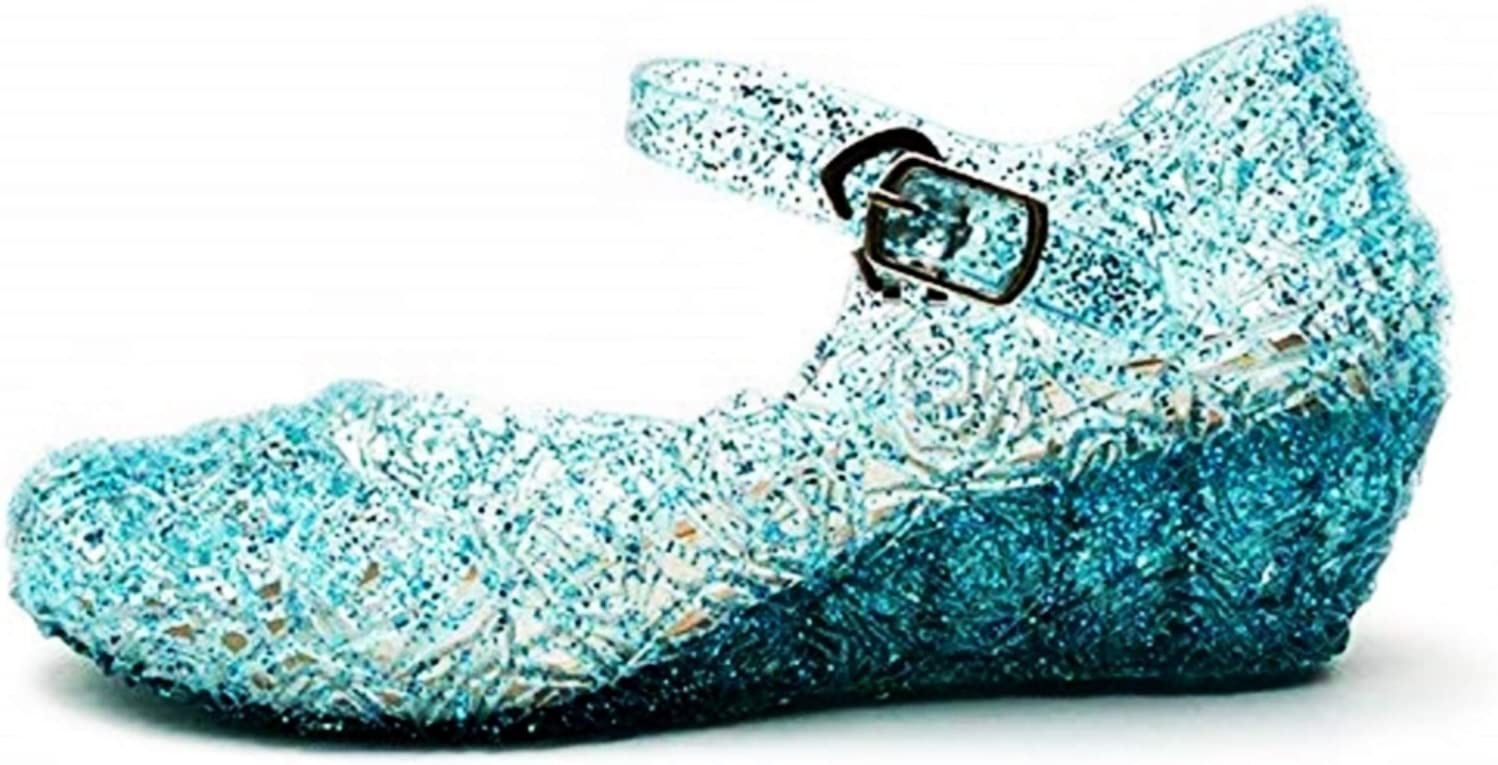 size 30 glitter cosplay cinderella blue color with glitter KIRALOVE Frozen elsa shoes cosplay carnival anna sole 18 cm halloween girl princess