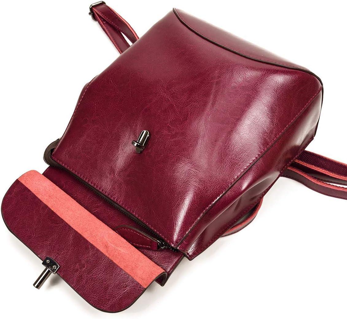 LUUFAN Vintage Leather Backpack Casual Rucksack Cabrio-Schultertasche f/ür Frauen und M/ädchen S, Black 2