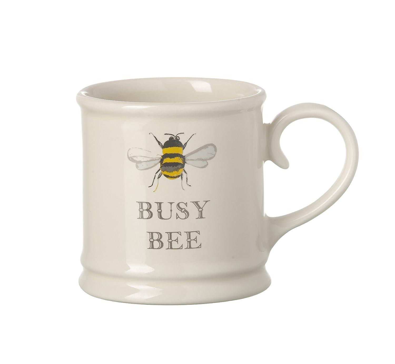 Set of 4 Cream Espresso Mugs HONEY BEE, BEE\'S KNEES, BUSY BEE, BEE ...