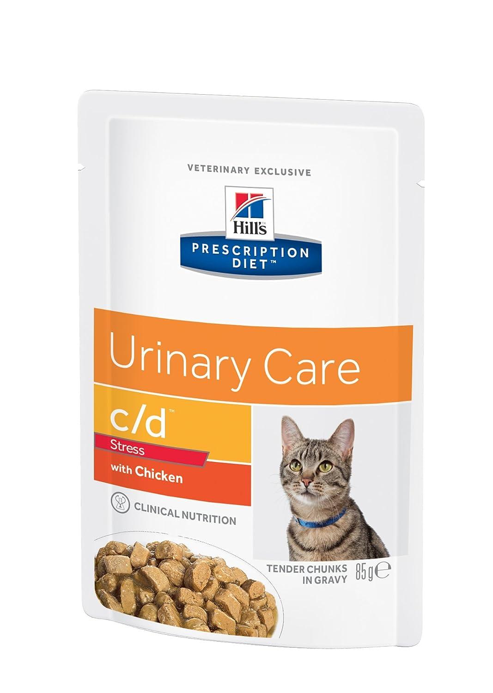 Prescription Diet - c/d - Cuidado urinario y Control del estrés - Comida húmeda para Gatos, con Sabor a Pollo, Paquete con 12 Unidades de 85 g: Amazon.es: ...