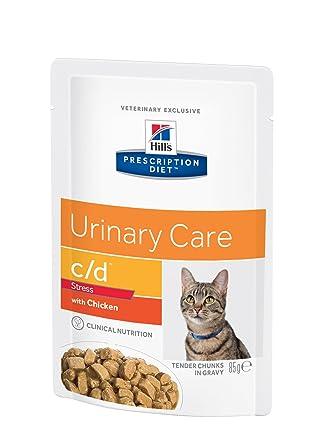 Prescription Diet - c/d - Cuidado urinario y Control del estrés - Comida húmeda para Gatos, con Sabor a Pollo, Paquete con 12 Unidades de 85 g