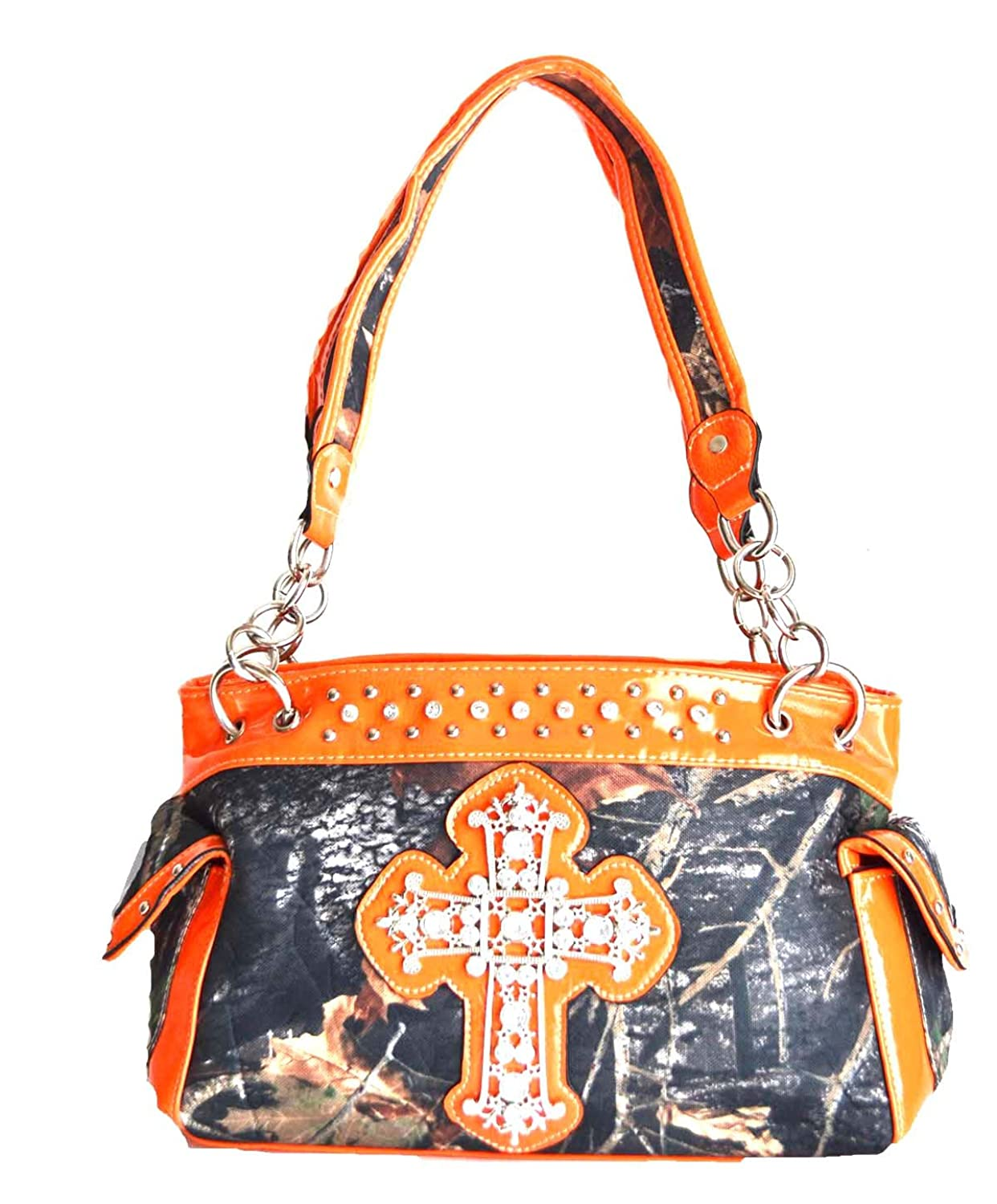 Western Camo Mossy Oak Rhinestone Cross Handbag Purse Orange