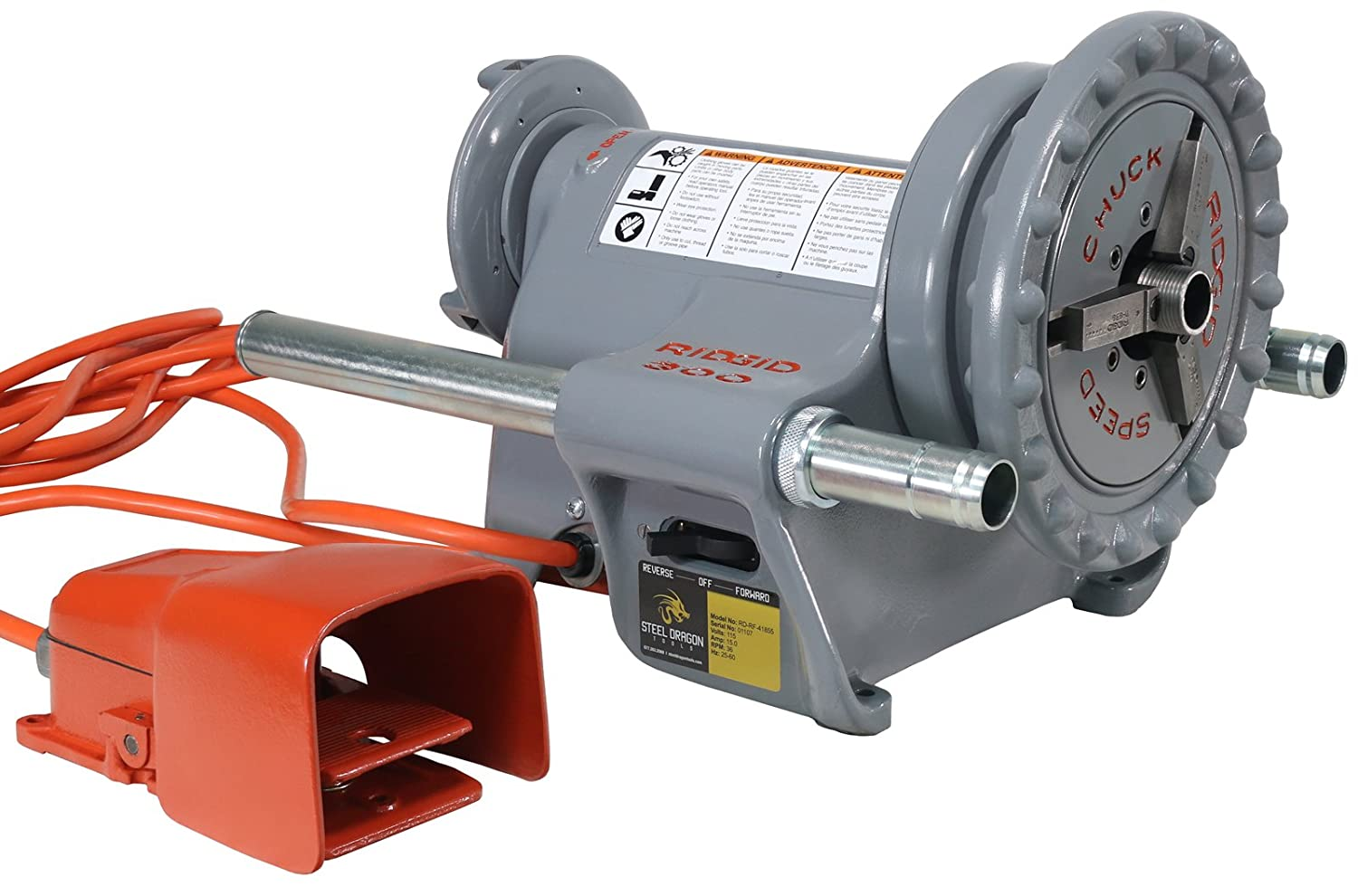 RIDGID 300 Power Drive 41855 Threading Machine with Foot Pedal (Reconditioned) Steel Dragon Tools