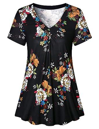 463bdc5f067b3 Luranee Womens Summer Blouses 2019, Misses Flowy Shirts Short Sleeve V Neck  Petite Boutique Clothing
