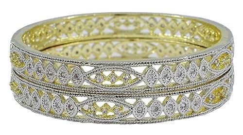 b13f0785e4b7 Banithani india cristal de las mujeres de la CZ brazalete Set 2 piezas AD  partido de la pulsera Kada joyería del diamante 2   10  Amazon.es  Joyería