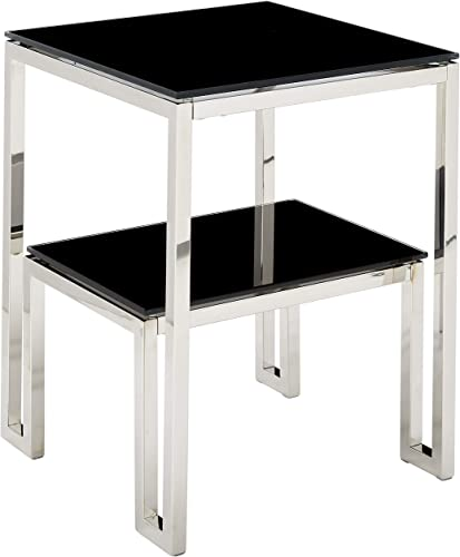 Cortesi Home Adina Two Tier Black Glass End Table