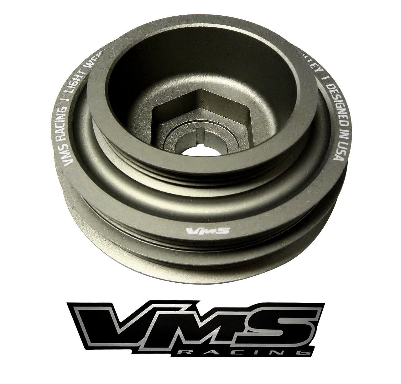VMS Racing 94-01 Light Weight Billet Aluminum Crankshaft CRANK PULLEY Compatible with Honda Acura Integra GSR Type-R B18B1 B18C1 B18C3 B18C5 1994-2001
