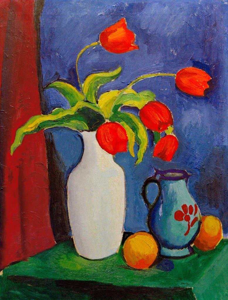 Картинки по запросу august macke rote tulpen in weißer vase