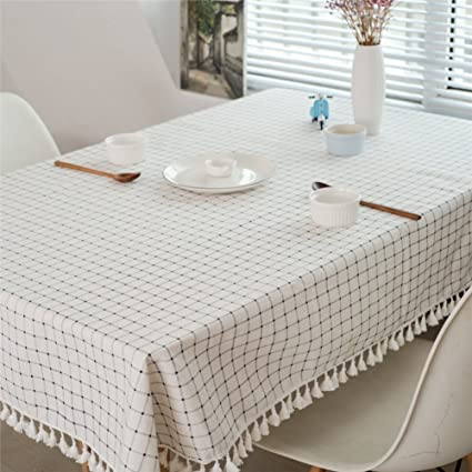 Gentil Plaid Tablecloths Home Table Coffee Tablecloths Decorative Tablecloths  Tassels Furniture Cover Towel B 120x120cm(