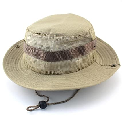 5afa814c395 FasterS Military Camo Boonie Hat Fishing Hunting Climbing Outdoor Wide Brim  Mesh Washed Cotton Woodland Bucket