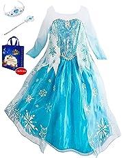 dacc34412e42d Eleasica Petites Filles Robe Longue Déguisements Manches Longues Princesse  Elsa Reine des Neiges Costume et Accessoires