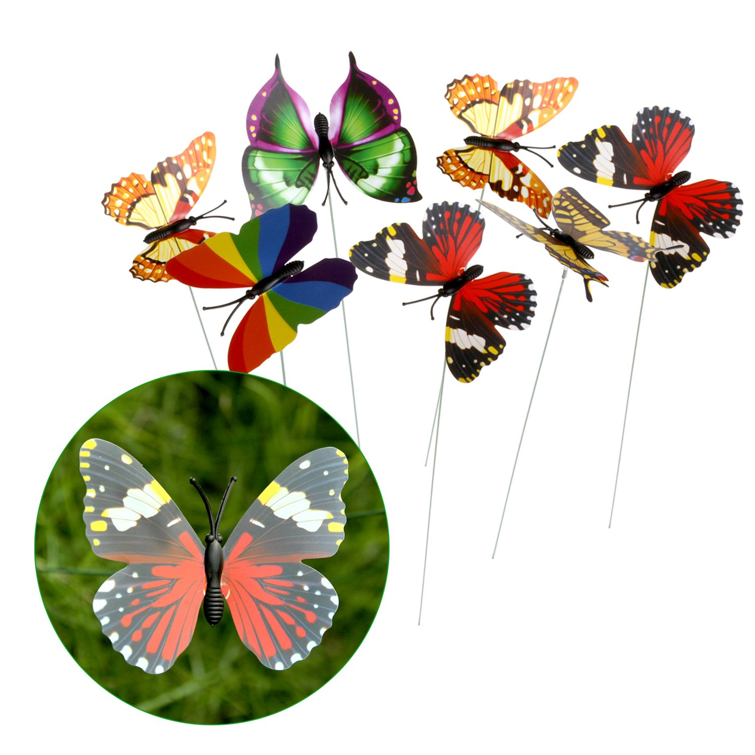 Atrium,Patio,Garden,Tree Branch Party Supplies Perfect Ornaments for Indoor Plants Christmas Decoration Bed Decor IMAGE 25pcs 0.4inch Butterfly Stake with 3D Colorful Wings