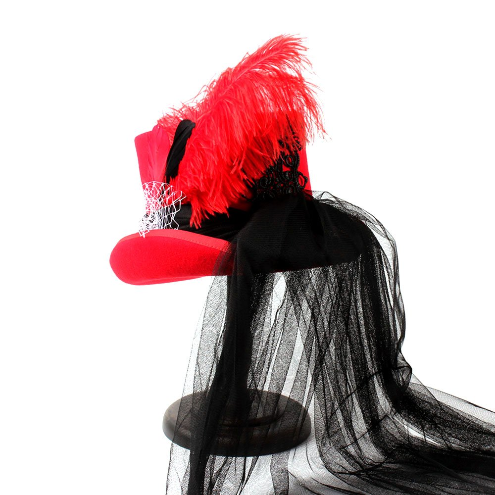 Battle Men Wedding Hats For Women s Victorian Style Steampunk MAD Hatter  Bowler Top Hat Classic Red-Black Feather Lace Decor Wide Brim (Color   1 0111ea4ad23