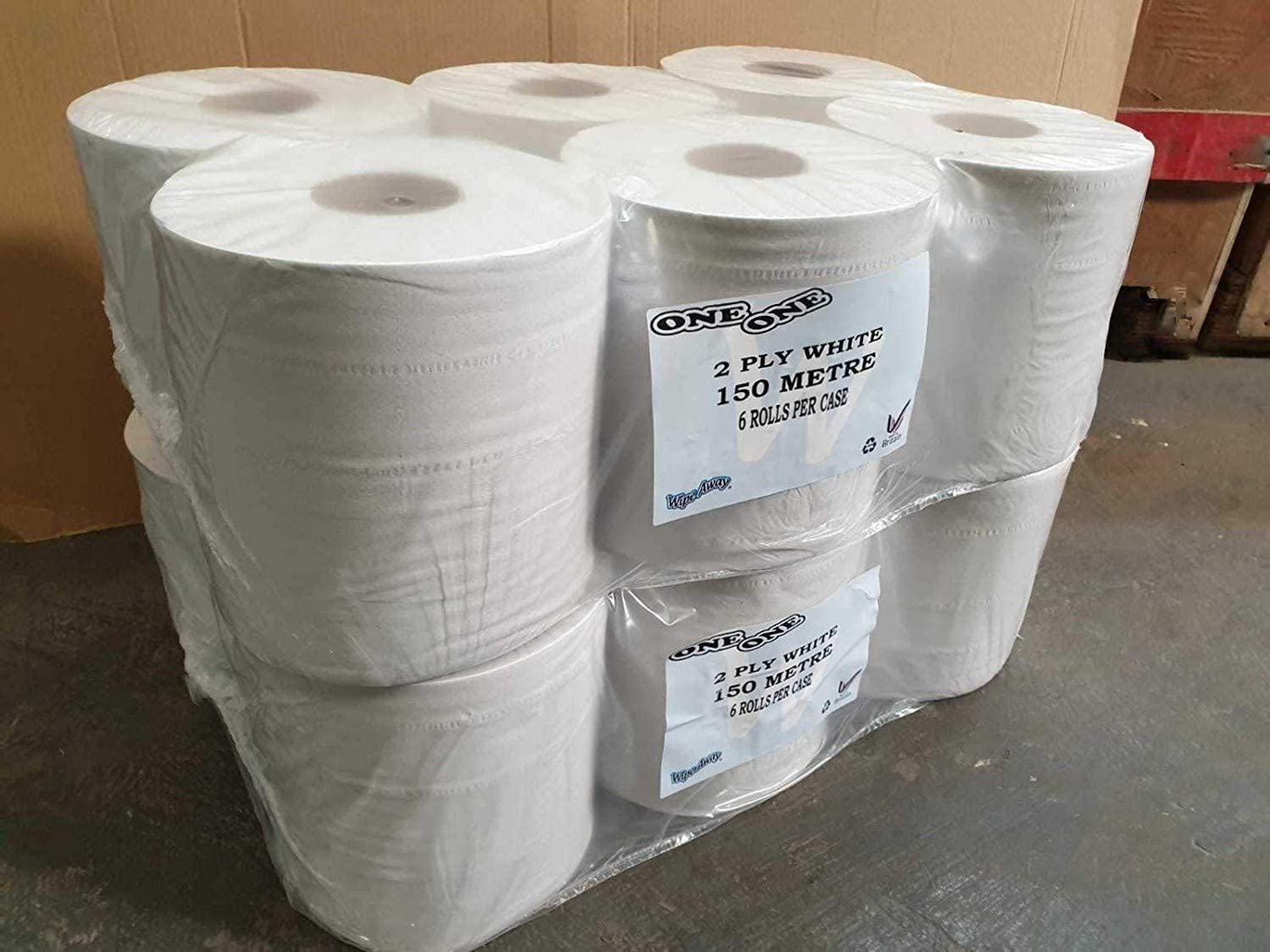 12 BLinx White Plain 2 Ply 150M Centrefeed Roll Tissue Cleaning Paper
