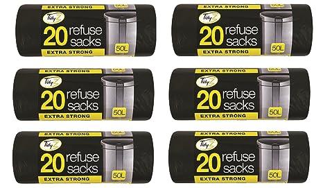 Tidyz 6 x Extra Fuerte Resistente 20 Bolsas de Basura 50 l ...